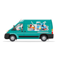 van for delivery pharmaceutical drugs vector image