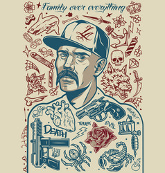 Vintage tattoo composition vector