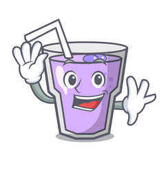 waving berry smoothie character cartoon vector image