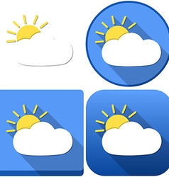 Weather Sun Behind Cloud Icon Pack vector image