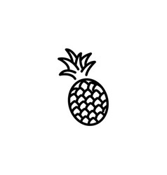 web line icon pineapple black on white background vector image