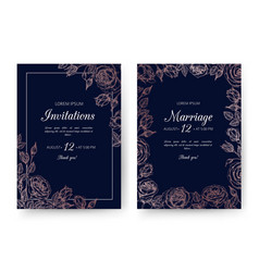 wedding invitation floral cards with rose vector image