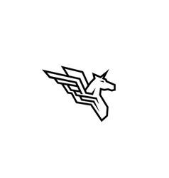 white geometric pegasus horse logo vector image