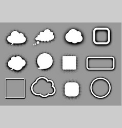 white speech clouds and frames on grey vector image