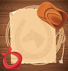 Wild west background with cowboy hat and american vector image