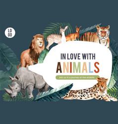 Zoo frame design with tiger kangaroo rhino vector