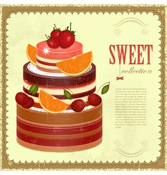 Big Chocolate Fruit Cake vector image vector image