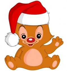 Christmas waving teddy bear vector image vector image