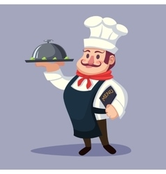 Funny cartoon Chief cook character with delicious vector image vector image