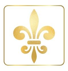 Golden fleur-de-lis heraldic emblem foil 2 vector image vector image