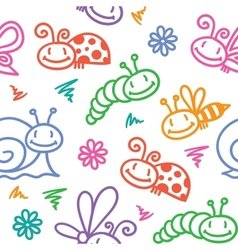 hand drawn pattern with insects vector image