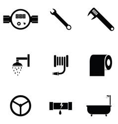 plumbing icon set vector image
