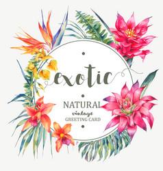 Vintage floral tropical round frame vector