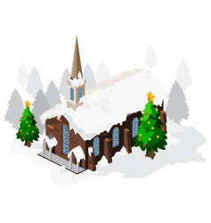 church on Christmas vector image vector image