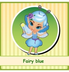 Fairy in blue dress - hand-drawn vector image