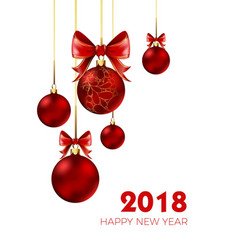 happy new year 2018 christmas ball and bow red vector image vector image