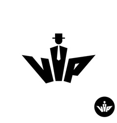 Vip letters black logo Silhouette of a gentleman vector image vector image