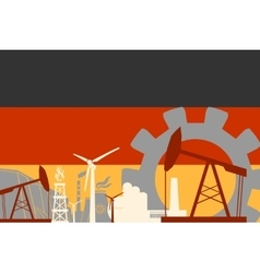 Energy and Power icons set with Germany flag vector image vector image
