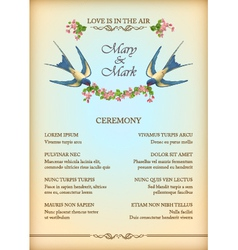 Floral wedding party card with flowers birds vector image vector image