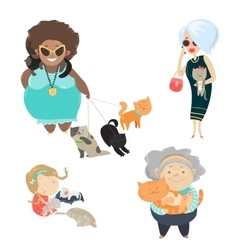 Funny cats with their owners vector image vector image