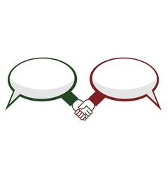 Hand shake between speech bubbles vector image vector image