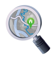 magnifying glass with map concept vector image vector image