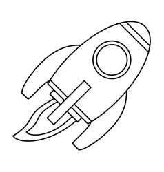rocket space travel line vector image
