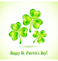Shining clovers Patricks day greeting card vector image
