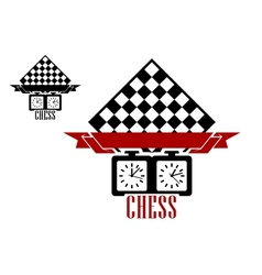Chess match logo with chess board and clock vector image vector image