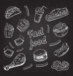 fast food restaurant menu blackboard hand drawn vector image