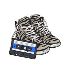 retro style disco attributes - zebra sneakers and vector image