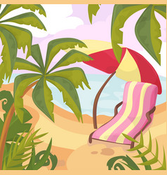 summertime on the beach palms and plants around vector image
