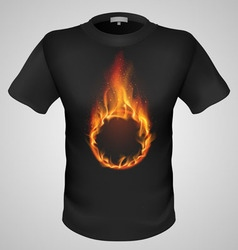 t shirts Black Fire Print man 22 vector image vector image