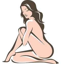 Young nude woman figure vector image