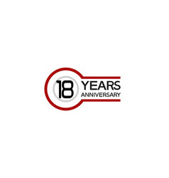 18 years anniversary with circle outline red vector