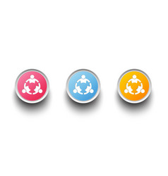 3d icon set teamwork people three person group vector image