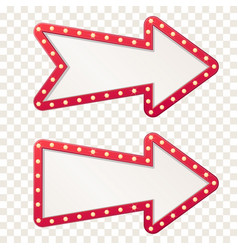 Arrow marquee light board sign retro frame arrows vector