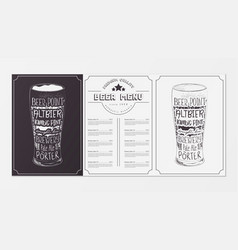 beer menu design vector image