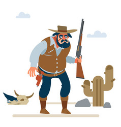 Big cowboy in old wild west on white vector