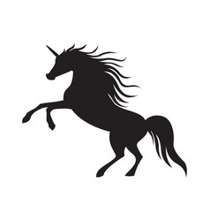Black cute silhouette unicorn vector