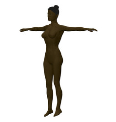 Black woman model with raised hands polygonal vector