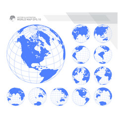 Blue earth globes set vector