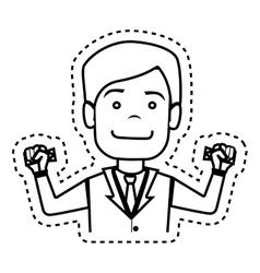 Businessman with dollar bills in hands vector