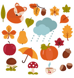 cartoon characters and autumn elements cartoon vector image