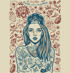 Chicano tattoo designs vintage poster vector