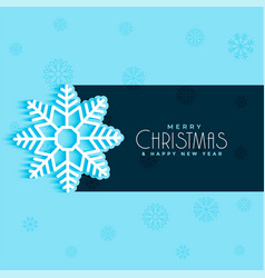 christmas snow flake design on blue background vector image