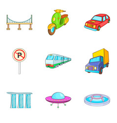 city transport types icon set cartoon style vector image