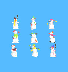 Classic snowmen made of three snowballs character vector