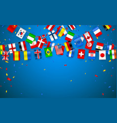 Colorful flags garland of different countries vector
