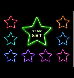 colorful neon star frame set on black background vector image